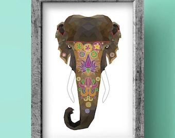 Elephant Print - Geometric art - Original design - Animal print