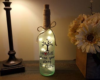 Home: Where Your Story Begins Wine Bottle Light