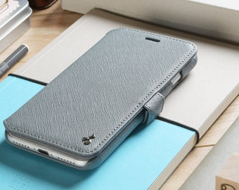 iPhone 7 Plus Genuine Leather Book Style Wallet Phone Case - Grey Saffiano Leather