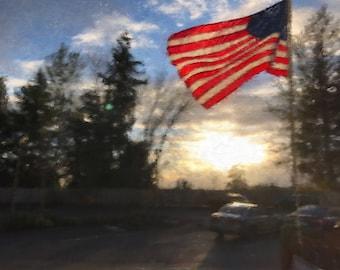 Sunset & Flag
