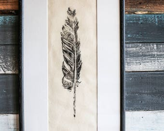 Feather Print. Real feather hand pressed onto calico with an ivory mount, feather art, hand painted.