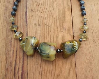 Yellow Opal Statement Necklace and Earrings
