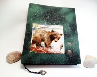 OOAK Diary with Bear A5 Big Journal made from old Soviet notebooks Personal Notebook Bear Book Vintage Blank Book Fabric Covered Notebook