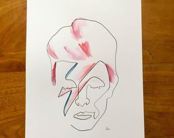 Bowie / Ziggy Stardust Watercolour Wall Art