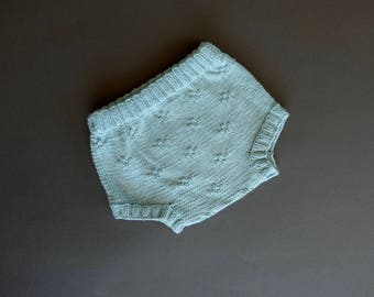 Baby Bloomers in Cotton Bamboo, Handknitted
