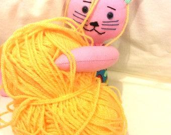 PINK Cat Kitten Toy Doll Ragdoll Fabric Cloth Doll Stuffed Soft Softee