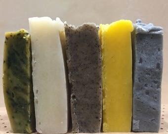 Soap Sample Bag, Soap Samples, Soap Sampler Gift Set of 5 Handmade, Homemade Soap, Organic Soaps, Travel Soaps, Guest Soaps, Natural Soap