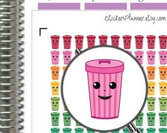 Recycle Stickers Trash Stickers Garbage Stickers Planner Kawaii Stickers Kawaii Planner Trash Planner Stickers Happy Planner Stickers (i19)