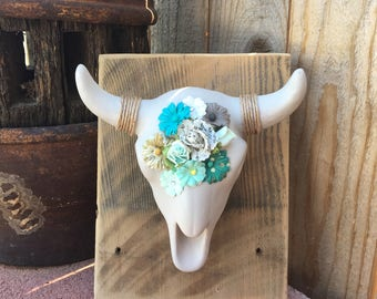 ceramic bull skull with flowers