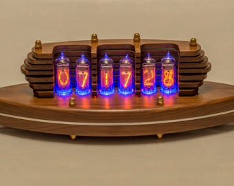 Nixie Clock IN-14 Tubes Walnut Enclosure Handmade