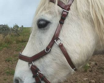 Brown COB Biothane Micklem style bridle bitless sidepull size COB with reins