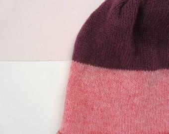 Woolly Beanie Hat Pink+Purple