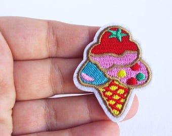 Ice cream cone patch icecream Iron on Patches Beach Embroidery Applique 4,6 cm