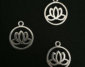 Tibetan Lotus Charm Pendant - Set of 3 - 20mm x 24mm - Silver Plated - Jewelry Making