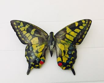 Vintage Butterfly Brooch Handmade and Painted