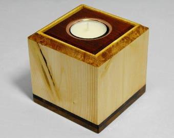 Wooden tea light holder caddy box.