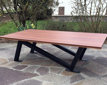 Coffee table, coffee table, coffee table made of steel with wood in the industrial design