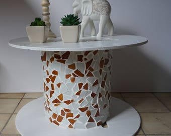 recycled cable reel/end table with mosaic