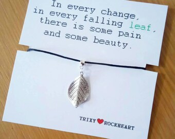 Leaf Pendant Black Chord Necklace. Lovely gift or perfect fashion accessory.