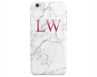 Personalised initials White Rose Gold Marble Phone Case for Apple iPhone 5 6 7 Plus & Samsung Galaxy S8 Personalized Customized Monogram