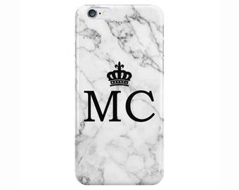 Personalised initials name Crown White Marble Phone Case Cover for Apple iPhone 5 6 6s 7 8 Plus & Samsung Galaxy Customized Monogram