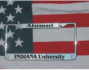 INDIANA UNIVERSITY Alumni Chrome Laser Engraved License Plate Frame FREE Shipping