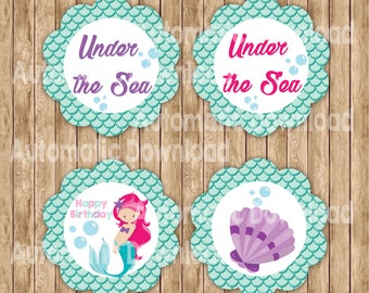 Little Mermaid Cupcake Toppers, Mermaid Toppers, Mermaid Birthday, Mermaid Party, Little Mermaid Printable, Party Decor, Party Birthday