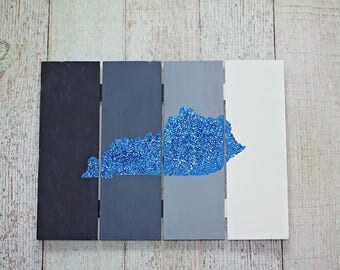 Hand-painted Glitter State Sign
