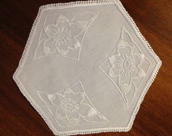 Vintage hand embroidered doily, 20 cm, white on white