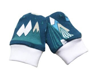 baby cuff scratch mittens, blue, green, mountains, baby mittens, scratch mittens, stay on mittens, OEKO-TEX 100, new baby gift 0-3m or 3-9m