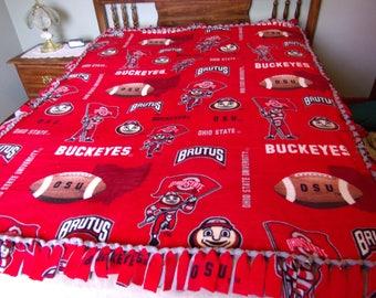 Ohio Stat fleece tie blanket