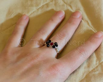 Red & Black wire wrapped ring
