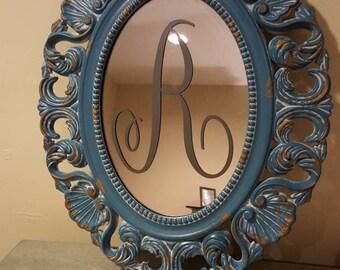 monogrammed blue mirror