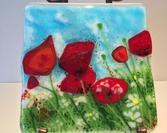 Red Poppies Fused Glass Panel