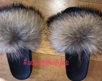 Raccoon fur slide slippers
