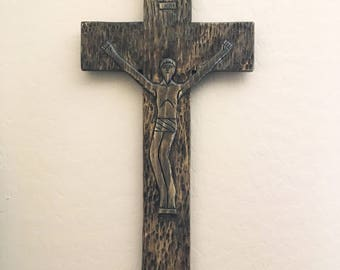 Hand carved pine crucifix