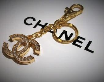 Chanel logo CC  crystal keychain charm
