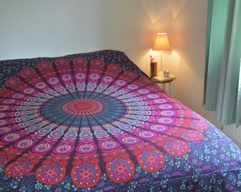 Double Mandala Patterned Throw/Wall Hanging in Purple & Magenta