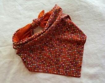 Traditional Tie End Dog Bandana - Reversible Red Multi Squares/Orange Check
