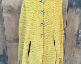 Vintage Knit Poncho Cape Fringe
