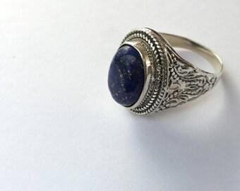 Fine silver Sodalite ring, handmade in Germany, 925silver