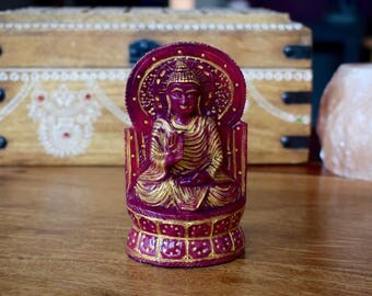 Carved buddha ornament, hand painted. wooden statue for home decor