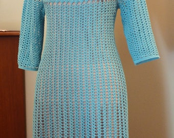 Weightless Lace Beautiful Handmade Crochet Turquoise Dress