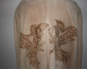 Vintage Handmade and Embossed Leather Pancho Cape