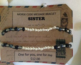 MoRSe CoDe MeSSaGe***SiStEr BrAcELet*** secret code one for you one for me!