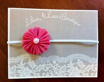 Delicate flower headband with pearl center
