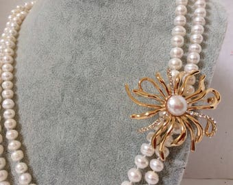 "Long Fresh Water Pearl Necklace With Pin ""Edurance"""