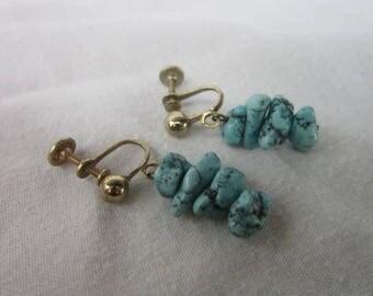 Vintage Native American Turquoise Dangle Screw Back Earrings