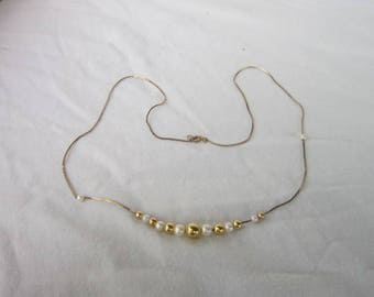 Vintage Gold Tone Box Chain with Gold Balls & Faux Pearls