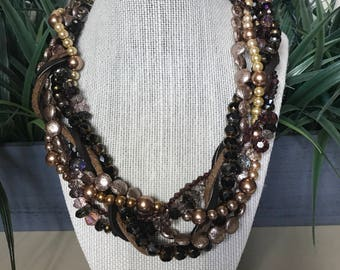 Brown Out Statement Unique Necklace